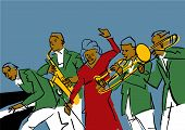 Jazz Band: Pianist, Saxophonist, Trombonist, Songstress. Music Band Performance. Colorful Musical Il poster