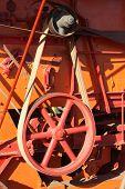 stock photo of threshing  - Belt drive on a working threshing machine - JPG