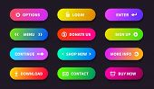 Gradient Action Button. Shop Download Banner, Flat Oval Interface, Web Ui Navigation Buttons. Vector poster
