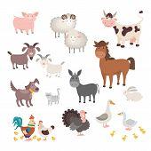Farm Animals Set. Isolated Homes Animal Pig Chicken Horse Dog Turkey Rabbit Cat. Flat Cute Silhouett poster