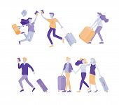Different People Travel On Vacation. Tourists With Laggage Travelling With Family, Friends And Alone poster