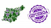 Vector Collage Of Grape Wine Map Of Gipuzkoa Province And Purple Grunge Stamp For Premium Wines Awar poster