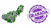 Vector Collage Of Grape Wine Map Of Granada Province And Purple Grunge Seal For Premium Wines Awards poster