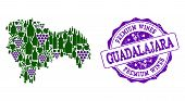 Vector Collage Of Grape Wine Map Of Guadalajara Province And Purple Grunge Seal For Premium Wines Aw poster
