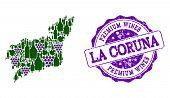Vector Collage Of Grape Wine Map Of La Coruna Province And Purple Grunge Seal Stamp For Premium Wine poster