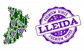 Vector Collage Of Grape Wine Map Of Lleida Province And Purple Grunge Seal Stamp For Premium Wines A poster
