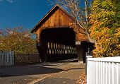 image of covered bridge  - Middle Bridge in Woodstock Vermont on a beautiful autumn day - JPG