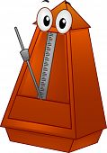Mascot Illustration of a Metronome with a Tilted Pendulum
