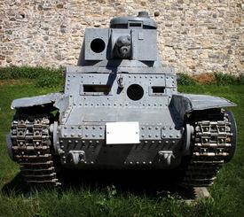 stock photo of panzer  - Panzer Kampfwagen 2 german tank from WW2 placed on open field of military museum in Belgrade - JPG