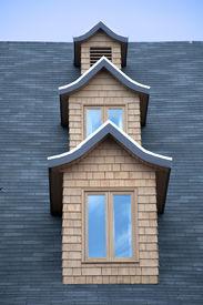 pic of gabled dormer window  - Column of dormer windows - JPG