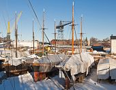 Old Dry Dock With Ancient Yachts.