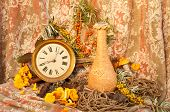 still life with clock, mushrooms and sea-buckethorn
