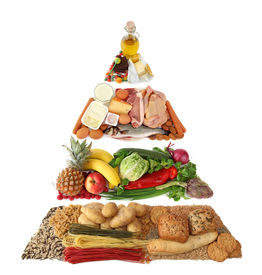 stock photo of food pyramid  - Food pyramid isolated on a white background - JPG