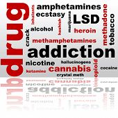 stock photo of meth  - Concept illustration showing a word cloud composed of different drug names - JPG
