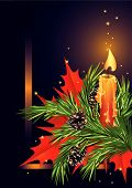 foto of christmas cards  - Christmas card with candle and fir branch - JPG
