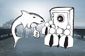 foto of loan-shark  - Loan shark and finance doodles against cityscape on the horizon - JPG