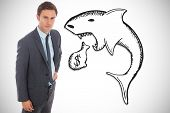 image of loan-shark  - Serious businessman standing with hand on hip against loan shark illustration - JPG