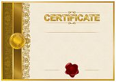 picture of wax seal  - Elegant template of certificate - JPG