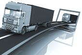 Trucks on freeway coming out of a laptop. 3d render illustration. Concept of logistics, delivery and