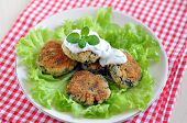 picture of veggie burger  - Delicious organic veggie burger patty with a healthy salad