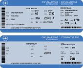stock photo of boarding pass  - Vector image of airline boarding pass tickets with barcode - JPG