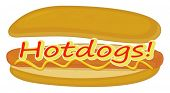 Illustration of a hotdog label on a white background
