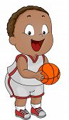 Illustration of a Little Boy Clad in Basketball Attire