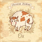 image of oxen  - Vintage card with Chinese Zodiac  - JPG