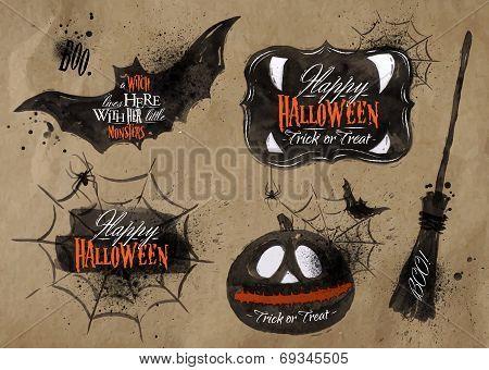 Halloween set symbols lettering kraft poster