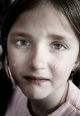 stock photo of tears  - Little girl crying with tears rolling down cheeks on her face - JPG