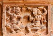 stock photo of radha  - Figurines made of terracotta at Madanmohan Temple Bishnupur West Bengal India  - JPG