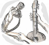 stock photo of bartering  - hand sketched illustration of Barter swapping hands with camera and guitar - JPG