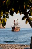 picture of cleopatra  - Alanya - the pirate ship at the beach of Cleopatra