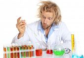 stock photo of mad scientist  - Crazy scientist working with tubes isolated on white - JPG