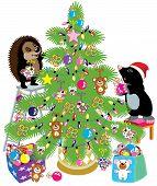 image of mole  - cartoon mole and hedgehog decorating a christmas tree - JPG