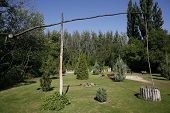 picture of shadoof  - Lonely shadoof in a beautiful hungarian garden - JPG