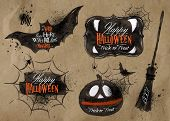 stock photo of bat  - Halloween set - JPG
