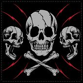 foto of skull cross bones  - Skulls and bone cross in Old school Tattoo Style - JPG