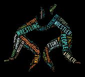 image of wrestling  - wrestling word cloud with colorful wordings on black background - JPG