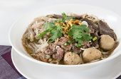 picture of tripe  - Combination Beef Noodle with beef ball beef tripe beef liver BBQ Duck Bean Sprouts Green Lettuces Green Onions Cilantro spicy sour minced jalapeno and Dried Garlic - JPG