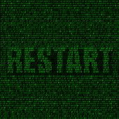 picture of reboot  - The programming code on the dark background and the text restart - JPG