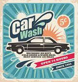 stock photo of 50s 60s  - Retro car wash poster design concept on old paper background - JPG