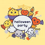 pic of kawaii  - Halloween kawaii greeting card with cute doodles - JPG
