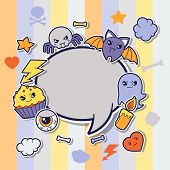 image of kawaii  - Halloween kawaii greeting card with cute sticker doodles - JPG