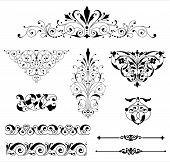 image of scroll  - Set of black vector ornaments  - JPG