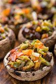 foto of portobello mushroom  - Portobello mushrooms stuffed with tomato - JPG