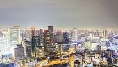 image of cbd  - Skyline in CBD of Osaka Japan at night - JPG