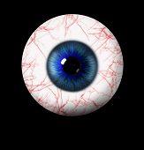 image of blue eyes  - 3d blue eye on black background - JPG