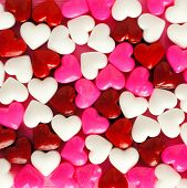 image of valentine candy  - Valentines Day background of pink white and red candies - JPG