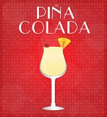 stock photo of pina-colada  - Drinks List Pina Colada with Red Background EPS10 - JPG